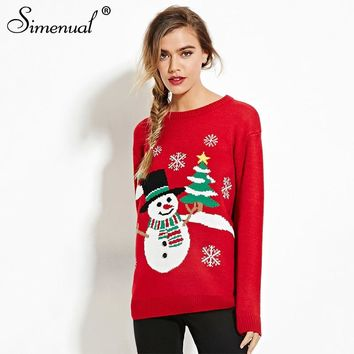 Simenual 2018 Christmas sweater women winter snowman treess deer sequined red jumper knitwear sweaters and pullovers fashion new