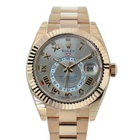 Rolex Sky-dweller 42mm Silver Roman Dial Gold Men's Watch 326938