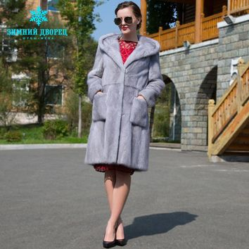 Winter coat genuine mink with a hood and two pockets. Fur natural blue coats long coats of whole mink,