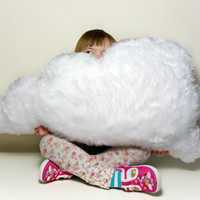 LARGE FLUFFY CLOUD Cushion / Pillow Rain Cloud White Faux Fur - Soft and Big