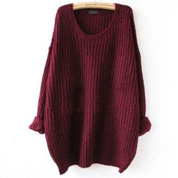 Crew Neck Knit Sweater Loose Pullover Cardigan