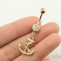belly ring,glitter anchor belly button rings,navel ring,anchor belly ring,nautical belly button ring,bellyring