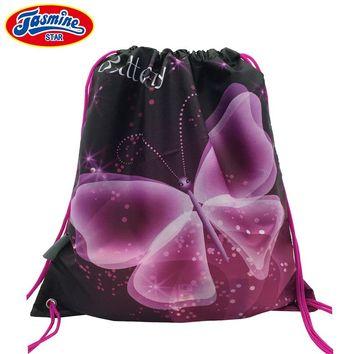 JASMINESTAR 38*33CM Drawstring Backpack Shoes Girls Butterfly Print Waterproof Nylon Storage Bags Baby Kids Travel Shoes Pouch