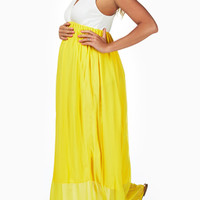 Yellow-Chiffon-Colorblock-Maternity/Nursing-Maxi-Dress