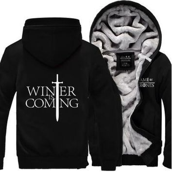 Hot New Game of Thrones House of Targary Cosplay Coat Hoodie Winter Fleece Unisex Thicken Jacket Sweatshirts Free Shipping