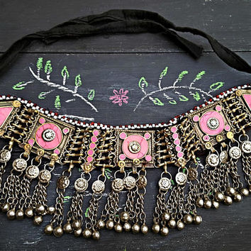 Pink Afghan necklace/ Tribal necklace/ statement necklace/kuchi beaded necklace/ pink stone jewelry