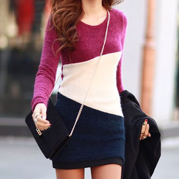 Plum Long Sleeve Color Block Bodycon Mini Dress