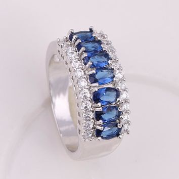 Noble Luxury Saphire CZ Wedding Rings For Women AAA+ Cubic Zircon Engagement Ring anillos bague anel feminino WR024