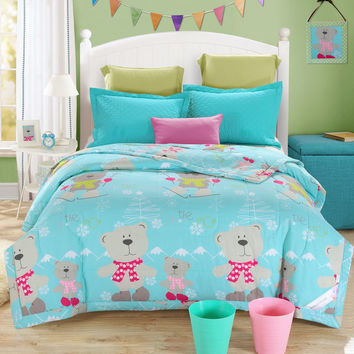 skiing teddy bear cartoon sea green summer quilt 150*200cm 200*230cm size  bedding for children/kids