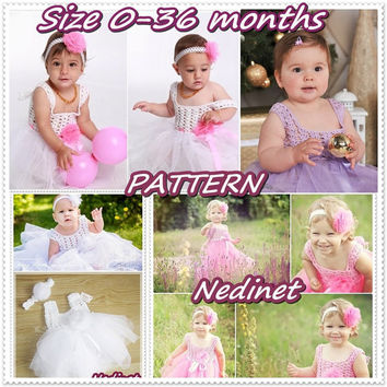 Crochet tulle dress pattern, 0-36 months set Instant Download PATTERN