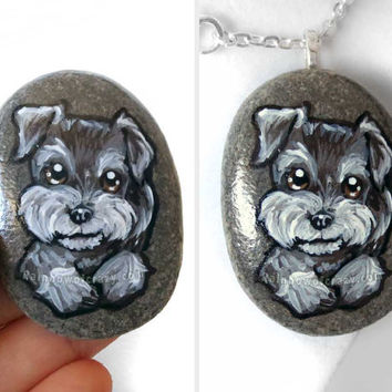 Dog Necklace, Miniature Schnauzer, Portrait Pendant, Original Painting, Paperweight, Pet Memorial Gift, Animal Art Jewelry, Puppy Decor