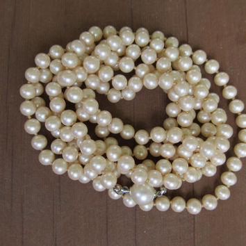 Very Long Hand-Knotted Faux Pearl Necklace