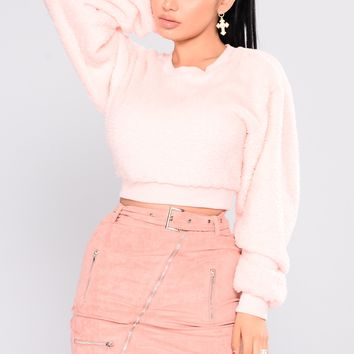 Snow Bunny Fuzzy Sweater - Light Pink