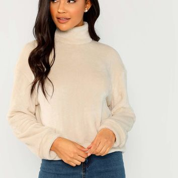 High Neck Faux Fur Pullover