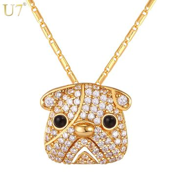 U7 Gold/ Silver Color Full Crystal Cute Pug Dog Pendant Necklace For Women Cubic Zirconia Bull Dog Animal Hip Hop Jewelry P1100