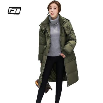 Fitaylor Winter Women Down Jacket Army Green Military Snow Hooded Parkas Thickness Outwear Loose Fit Warm Patchwork Overcoat