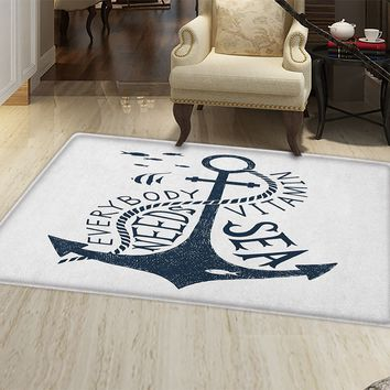 Anchor Door Mat Small Rug Hand Drawn Everybody Needs Vitamin Sea Quote Monochrome Fish Silhouette Bath Mat 3D Digital Printing Mat Dark Blue and White