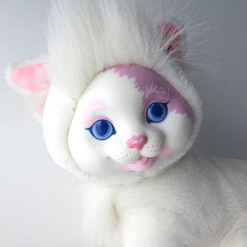 Kitty Surprise Plush Stuffed Toy Vintage Hasbro 1990s White Mother Cat