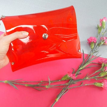 Red wristlet vegan clutch bag, clear stadium bag, vegan minimalist clutch, simple red bag, transparent small purse, 90s bag, plastic bag