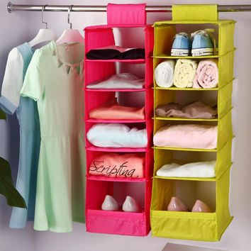 Hanging Compartments Shelf Closet Washable Storage Bag