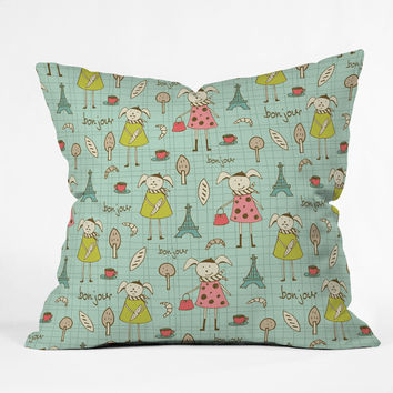 Heather Dutton Bonjour Lapin Outdoor Throw Pillow