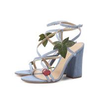 Gianvito Rossi Strappy Sandal - Cherry Denim Cotton Sandal