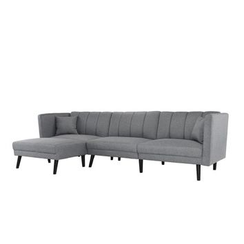 Mid-Century Style Sectional Couch Sleeper Futon, Reclining, Dark Gray - Walmart.com