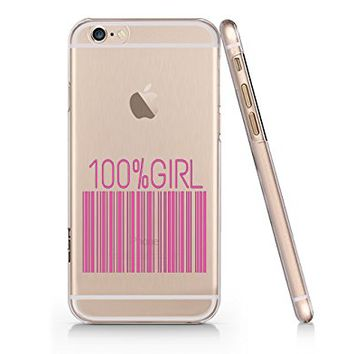 """100% Girl"" Barcode Transparent Plastic Phone Case for Iphone 6/6s"