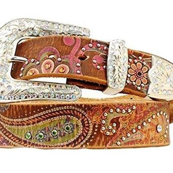 Nocona Women's Floral Paisley Print Leather Belt