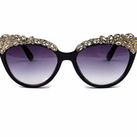 Rhinestone Embellished Cat Eye Sunglasses Women Fashion Sun Glasses