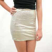 vtg 90's gold silver metallic mini skirt  guess brand 1990s vintage urban outfitters american apparel tumblr soft grunge vaporwave aesthetic