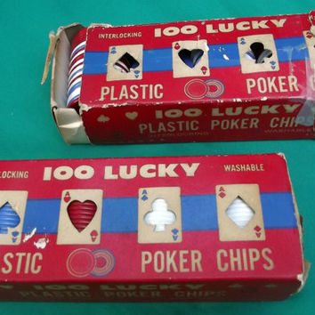 100 Lucky Interlocking Washable Poker Chips Two Boxes in Red White and Blue