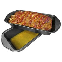 Evelots 2 Piece Set Non Stick Meatloaf Pan, Meat Loaf Fat Draining Bakeware