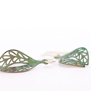 Verdigris patina leaf earrings