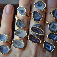 LUX DIVINE /// Semi Adjustable Geode Wrap Ring /// Stackable Gemstone Gold Electroformed Ring