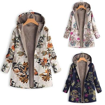 Vintage Floral Chic Hooded Jacket