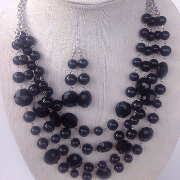Formal Jewelry Black Crystal Necklace Set, Chunky Statement Jewelry, Prom Dance Black Beads, Birthday Gift for Sister in Law, Goth Jewelry