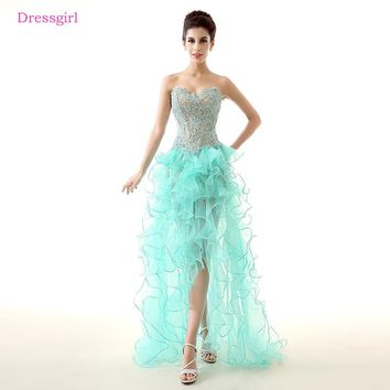 Turquoise 2018 Prom Dresses A-line Sweetheart Organza Lace Beaded Short Front Long Back Prom Gown Evening Dresses Robe De Soiree