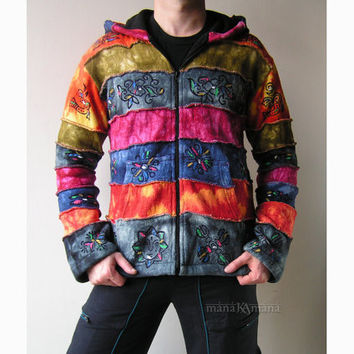 Hand Painted  Knitted Rainbow Patchwork Hoodie - Pixie - Hippie - Men - Women - Pointed hood - Cotton with lining - Warm - Coat - Jacket