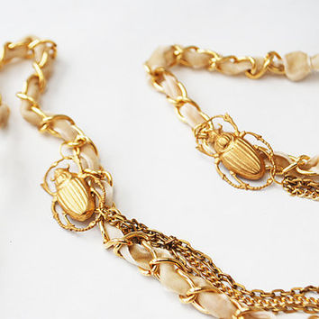 Gold Scarab Beetle Chain Necklace with Vintage Velvet Ribbon Tie