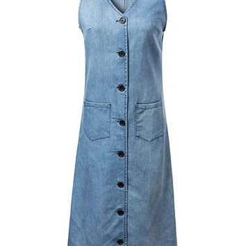 Blue V-neck Button Placket Pocket Detail Denim Midi Dress