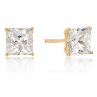 6mm New Sterling Princess Cut Cz Studs Gold