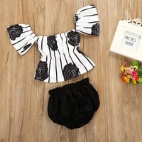 Fashion Striped Floral Blouse Summer Set