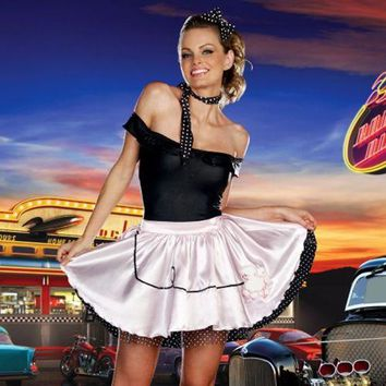 Sexy Adult Halloween DreamGirl Fabulous 50's Girl Costume w Poodle Skirt- Small