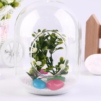 1pc Glass Vase Transparent Glass Vase Hanging Terrarium Succulents Plant Landscape Home Decor Gift in Bedroom Living Room Office