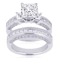 2 Ct Princess Cut 3 Three Stone Diamond Engagement Wedding Rings Pave Channel Set 14K Gold