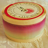 """Scrumptious Vintage Imported French 1"""" Wired Ombre Ribbon By-the-Yard Lavender Pink to Pale Seafoam Green Ribbon Floral Wedding Prom Supply"""