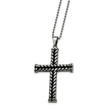 Stainless Steel Black Plated Cross Pendant Necklace 22in
