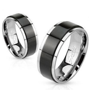 Spinner Black IP Two Toned Stainless Steel Ring