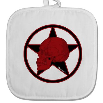 Blood Red Skull White Fabric Pot Holder Hot Pad by TooLoud
